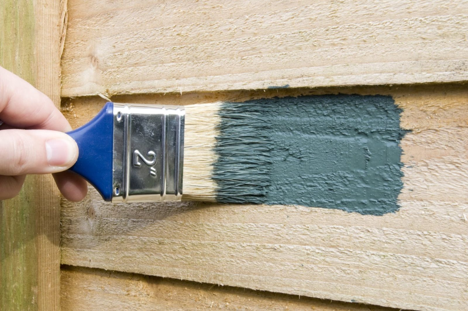 fence being painted green with a brush