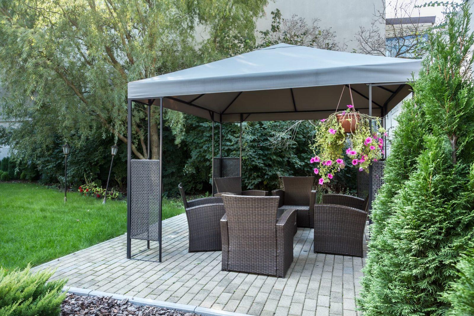 gazebos and furniture in garden