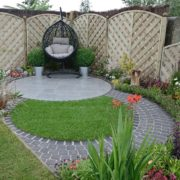 small garden with manicured lawn and fencing