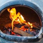 wood burning in a garden chiminea