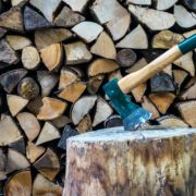 chopping axe with chopped wood in background