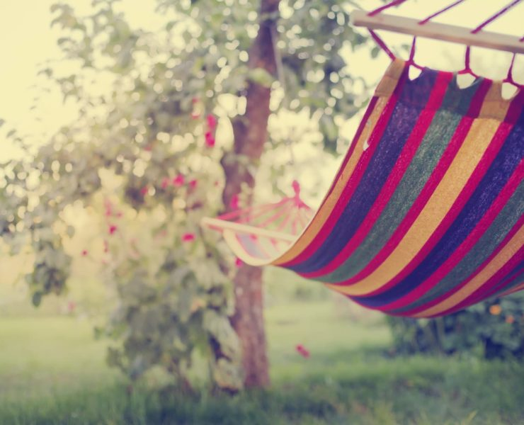 colourful hammock in the garden