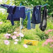 clothes airer in garden with clothes hung up to dry
