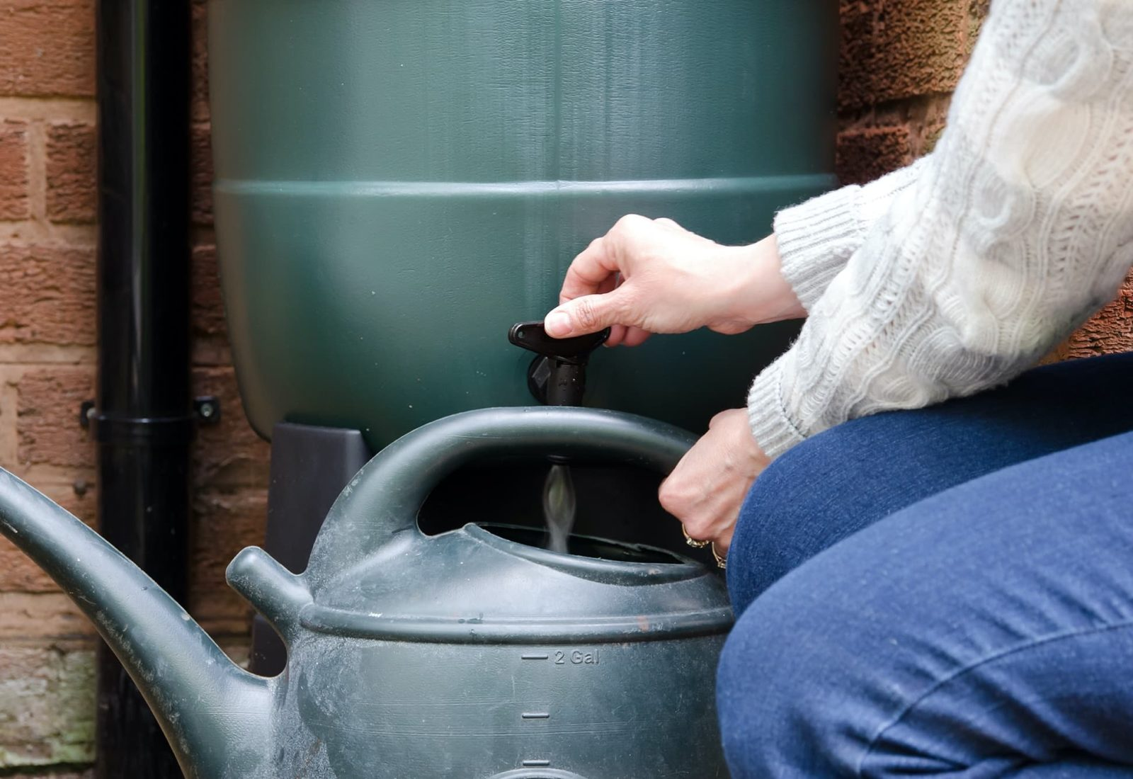 woman filling watering can using water butt