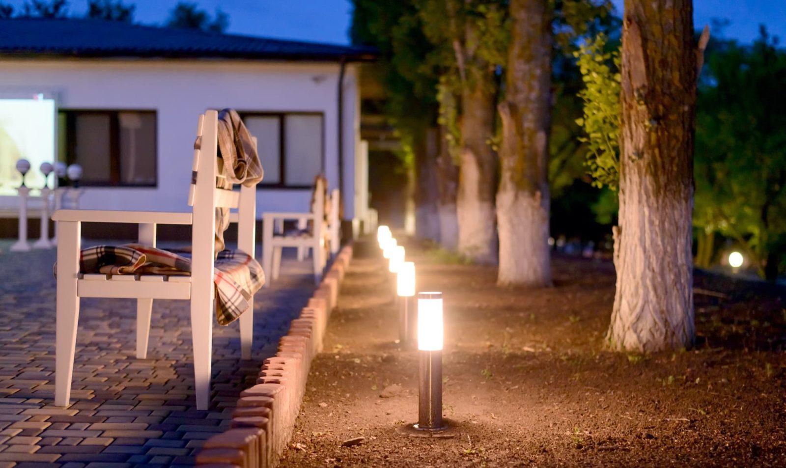 garden lights in a row