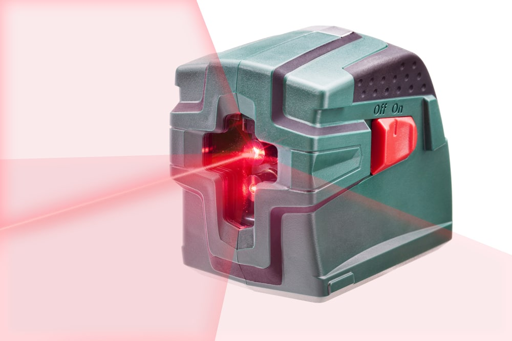 a bosch cross line laser level in action