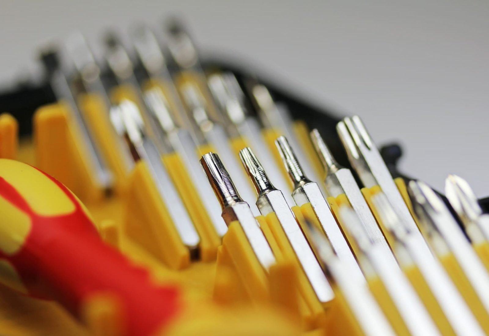 screwdriver set in red and yellow