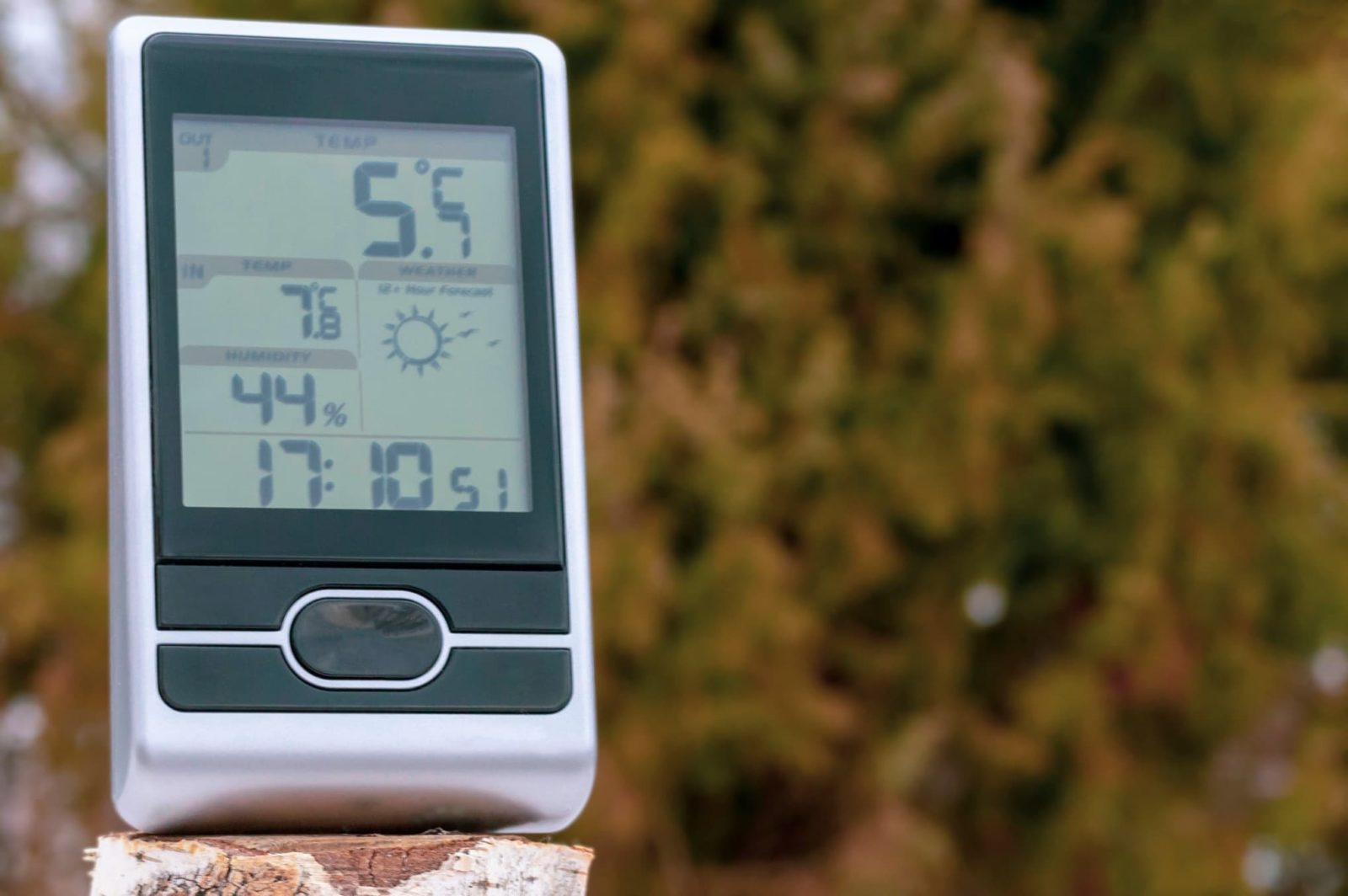 home weather unit sat on a log with trees in the background