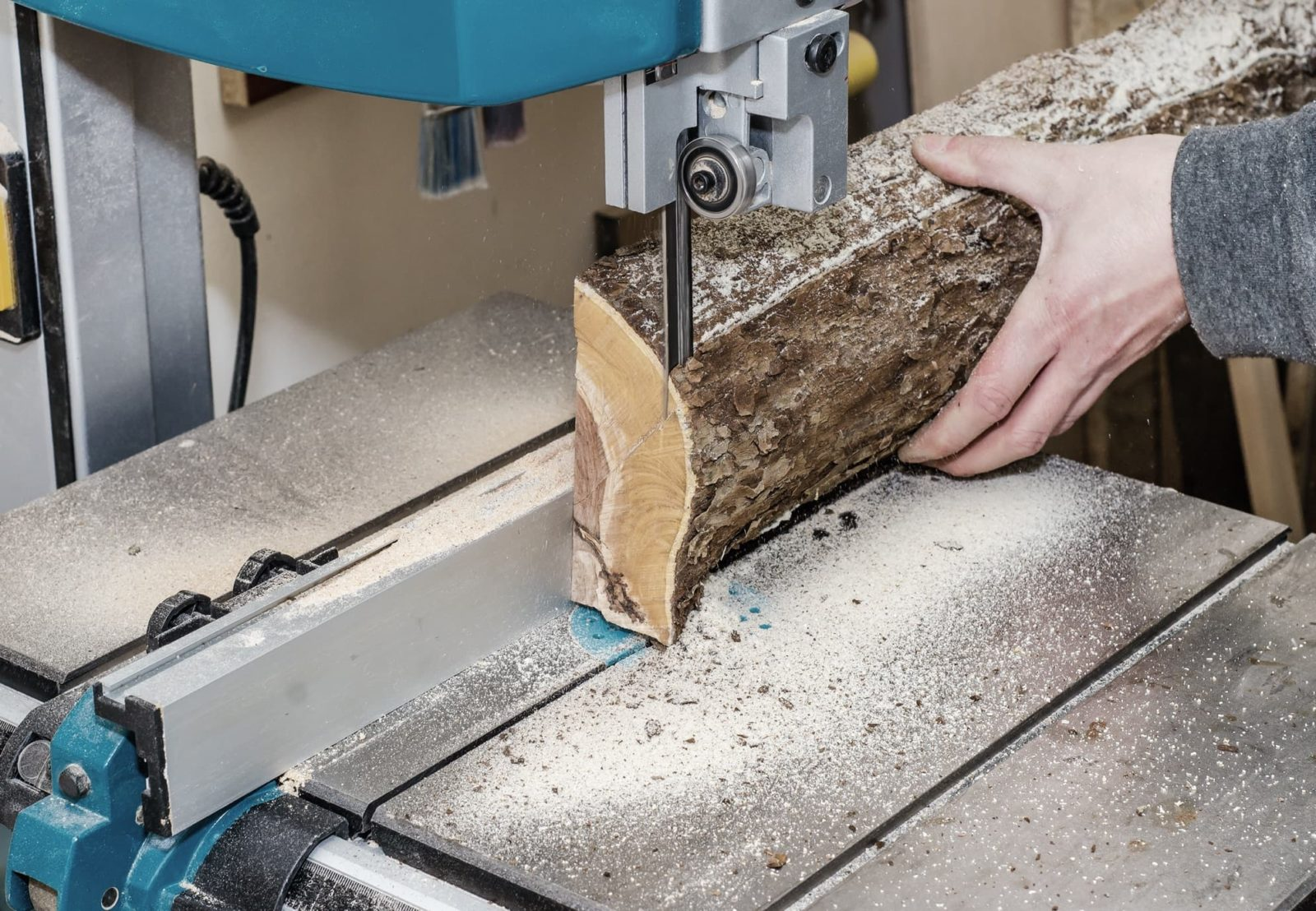 log being cut by a band saw