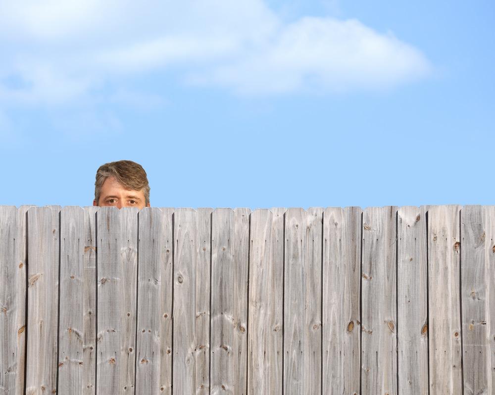 man poking his head over a garden fence