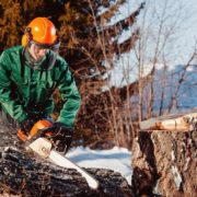 man with orange chainsaw helmet cutting through log