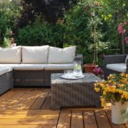rattan sofa set on garden decking
