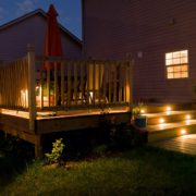 garden decking lit up in the dark