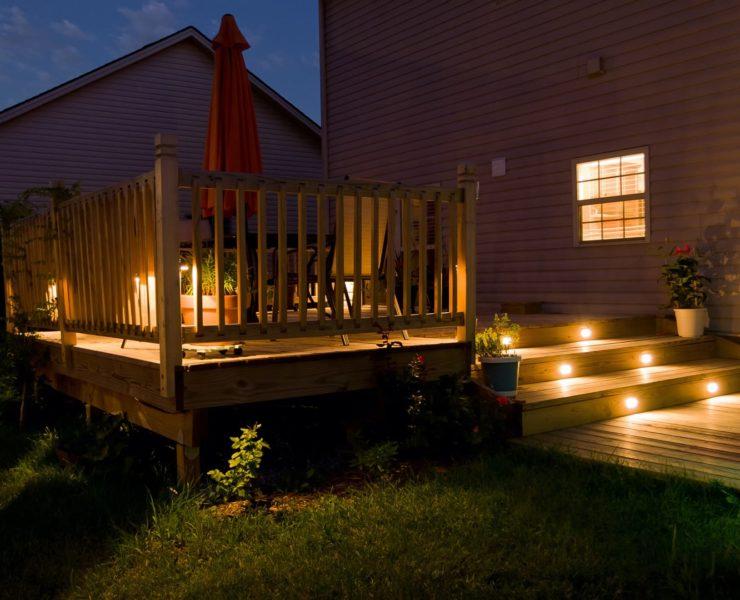 garden decking lit up in the dark