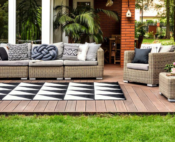 rattan furniture on garden decking
