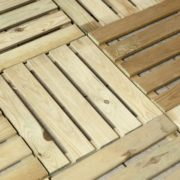 softwood timber decking tiles laid on a floor