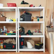 messy garage shelving covered in items