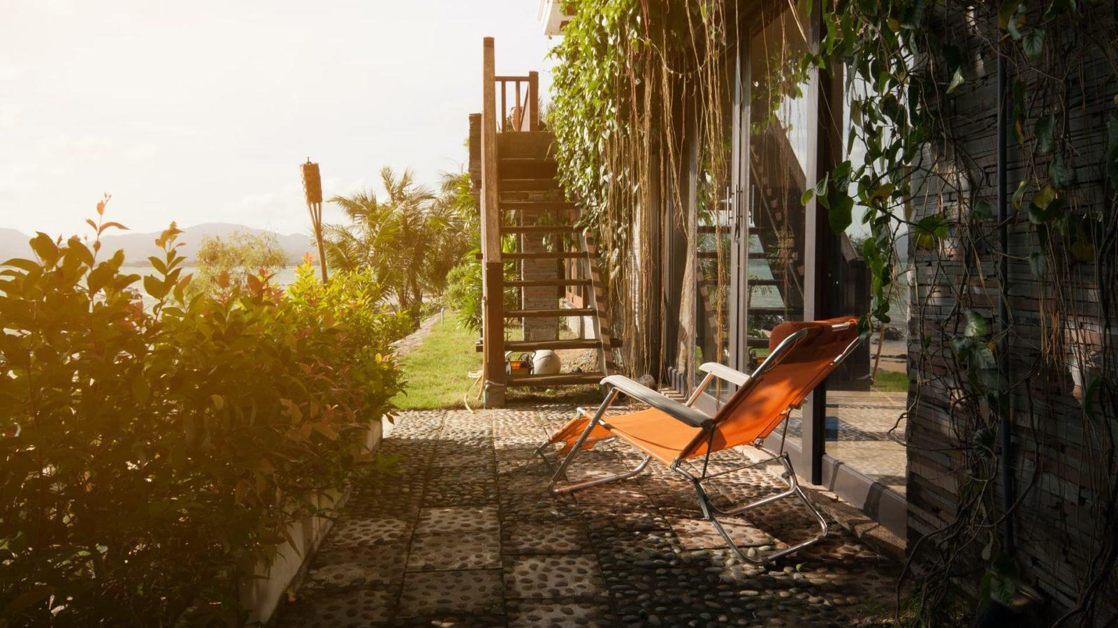 zero gravity chair sat on an outdoor patio area