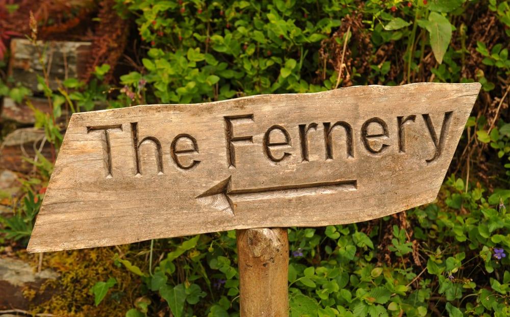 "Wooden ""The Fernery"" sign in Devon, UK"