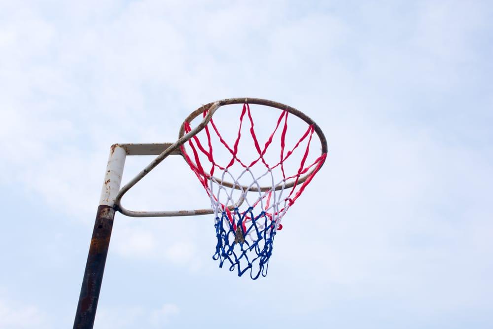 netball hoops against a clear sky