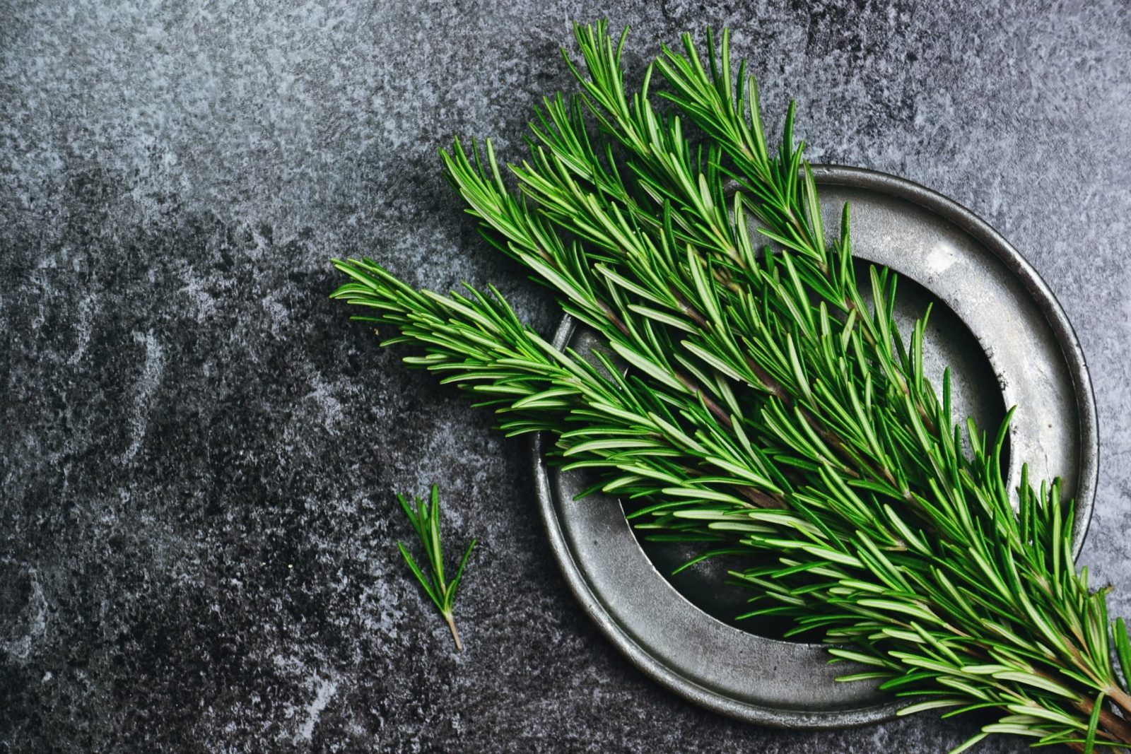 fresh rosemary herb on a kitchen worktop