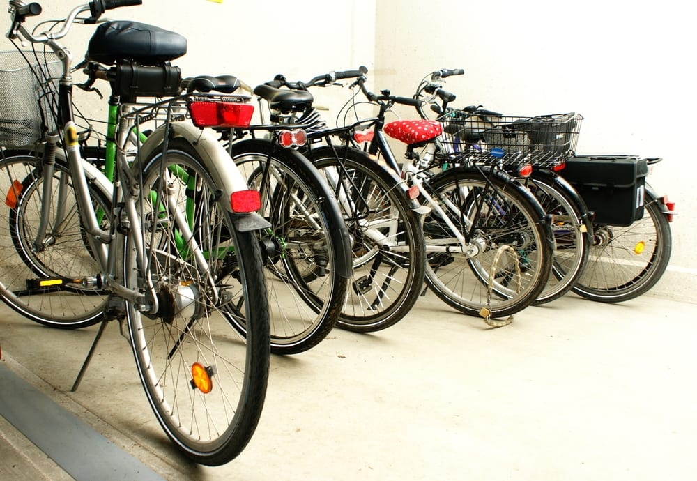 Inside the bicycle garage of an apartment block