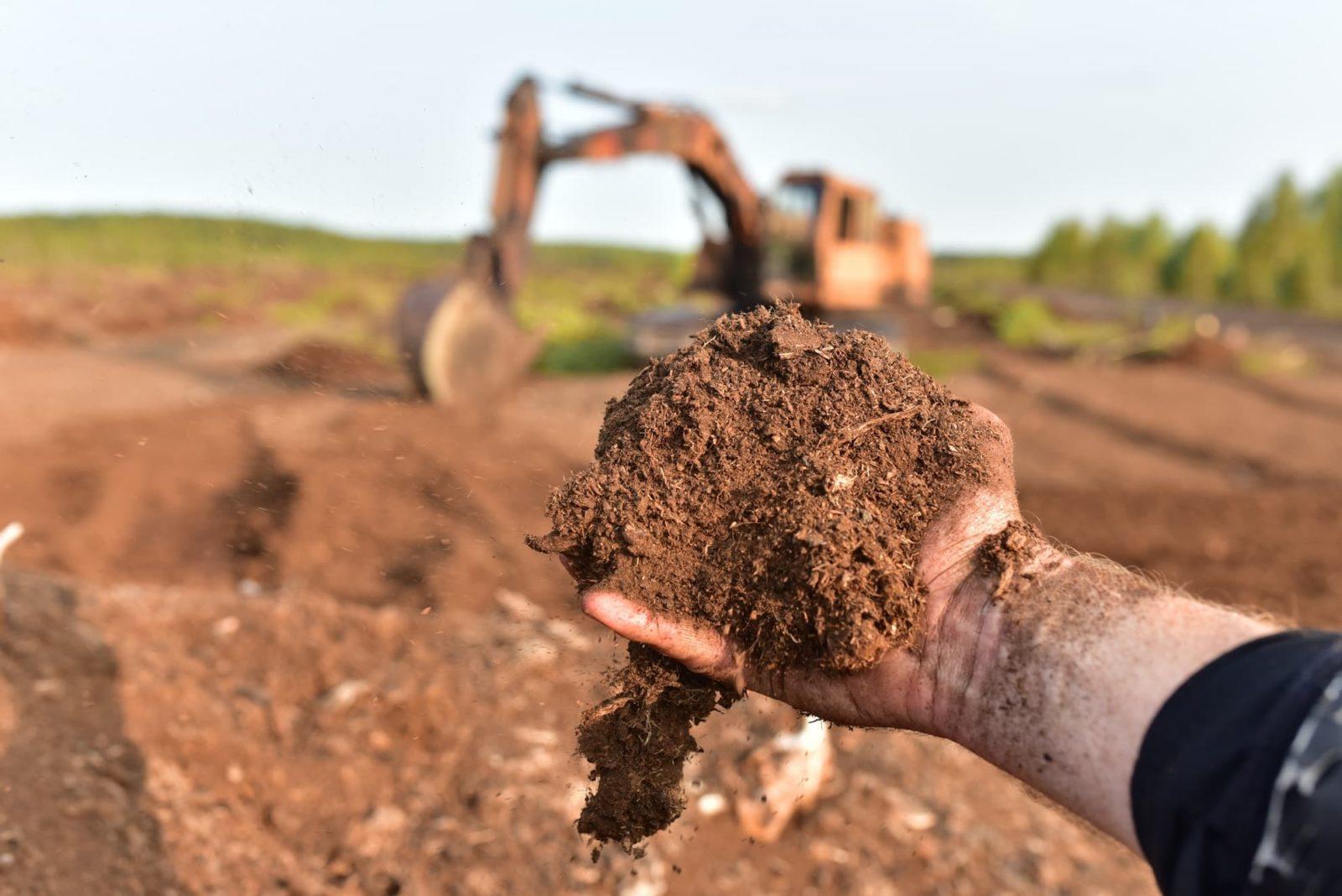 compost being harvested from peatland bog