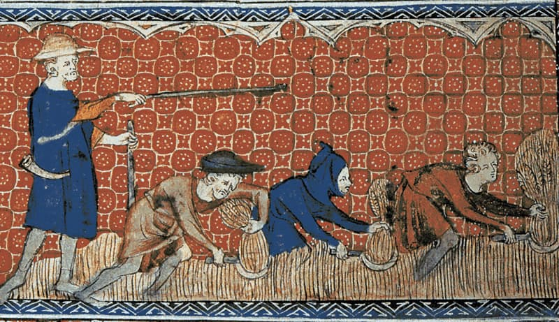 an old illustration of peasants harvesting crops