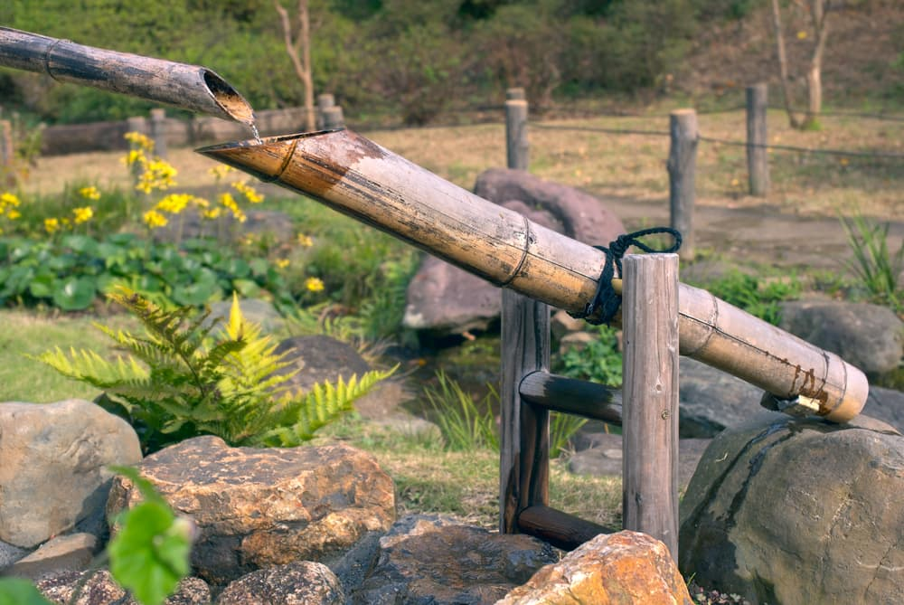 a bamboo water fountain