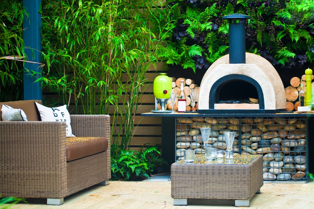 pizza oven with garden furniture