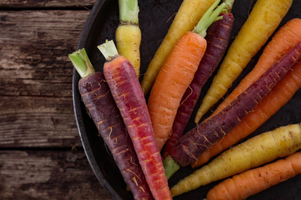 multi coloured carrots sat on a plate with wooden table background
