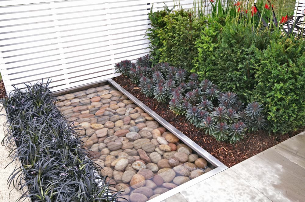 rocks in water with plant edging