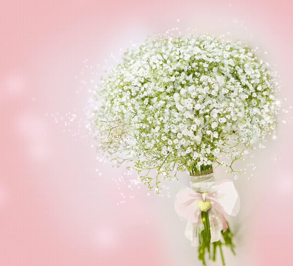 white gypsophila in a wedding bouquet