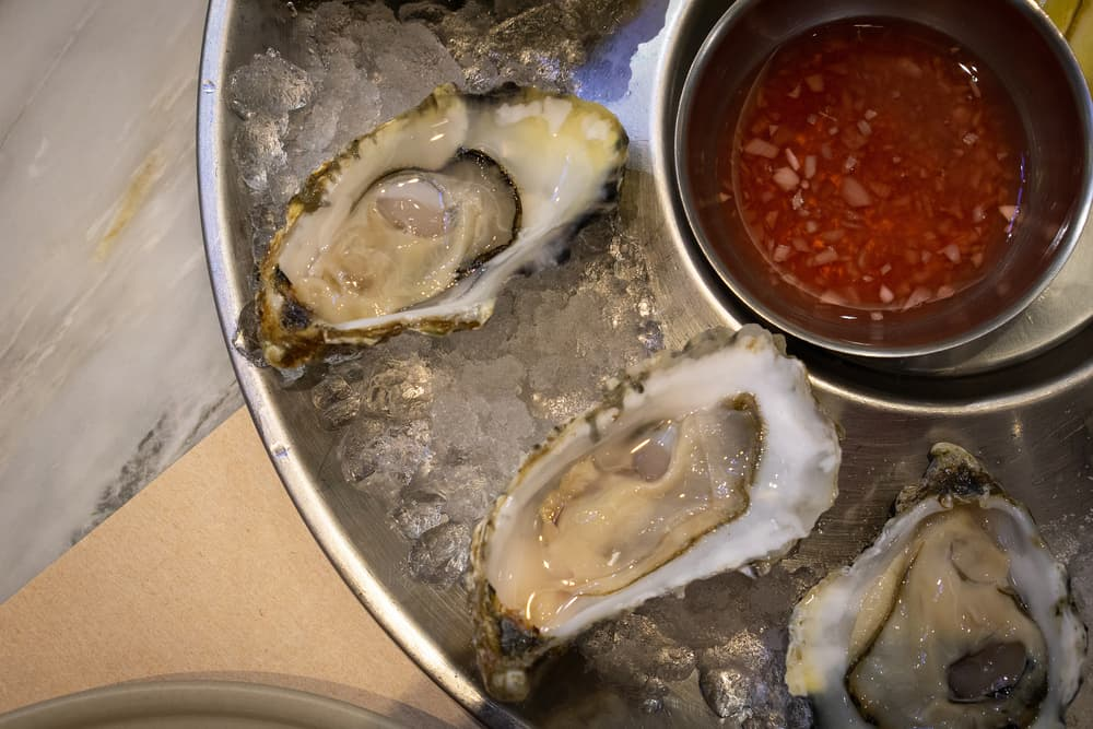 oysters and mignonette sauce on ice
