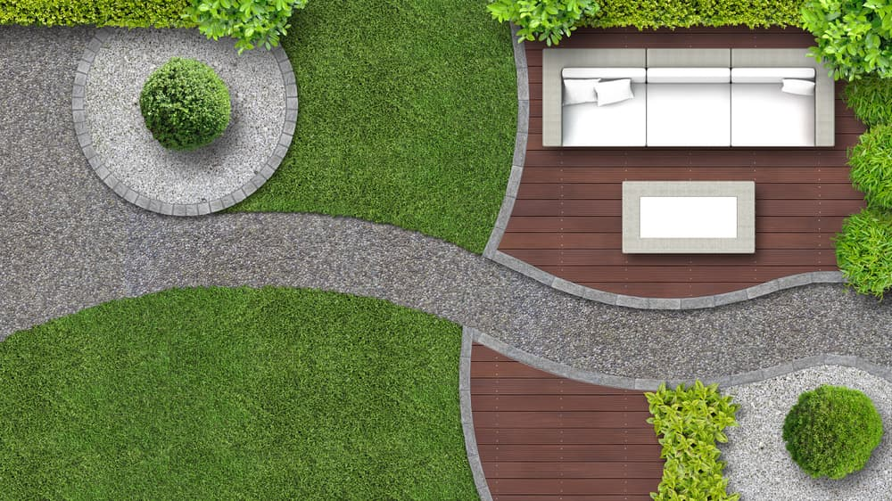 birds eye view of a garden landscape with path, decking, furniture and lawn