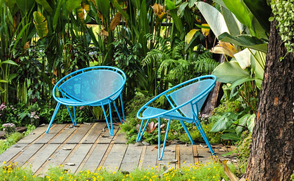two blue chairs in a tropical garden