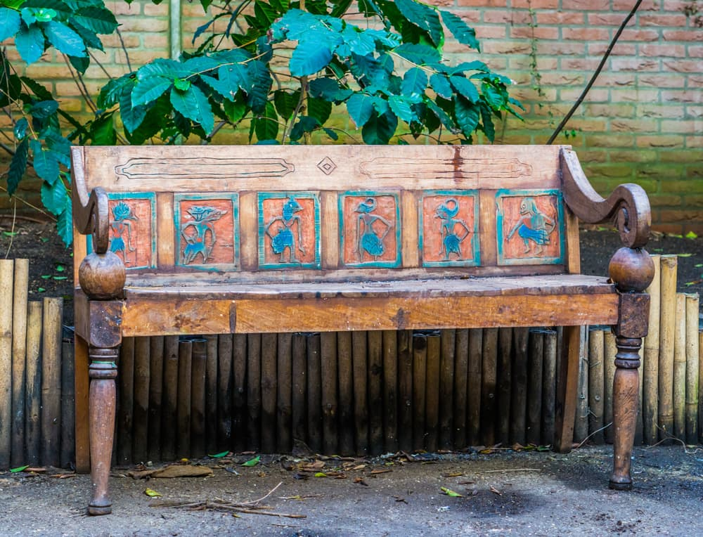 a beautiful vintage wooden Egyptian bench