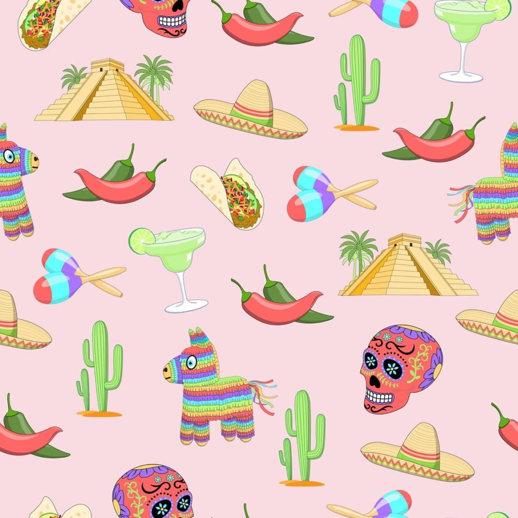 illustrated mexican icons including piñata, cacti, sombrero, tacos, aztec temples and margaritas