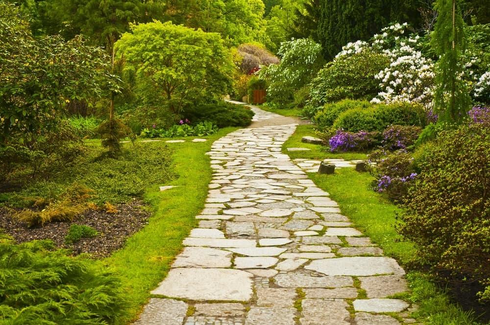 crazy paving path in a japanese garden