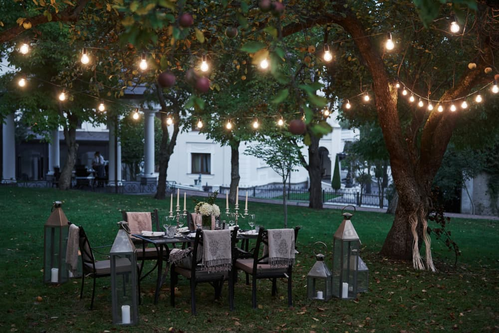 an outdoor dining table and chairs setup with string lights hung on trees overhead