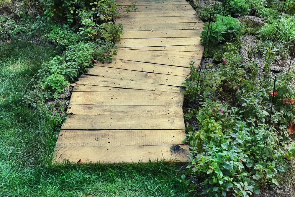 a planked garden pathway