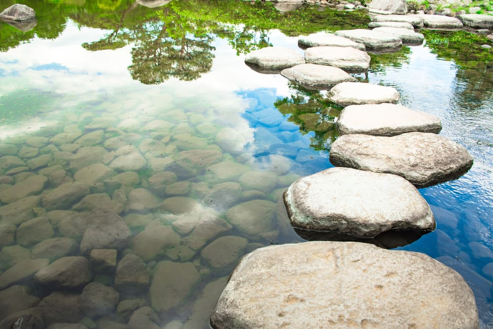 a floating rock pathway in a Japanese garden