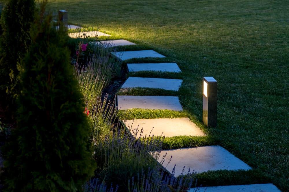 an illuminated garden pathway