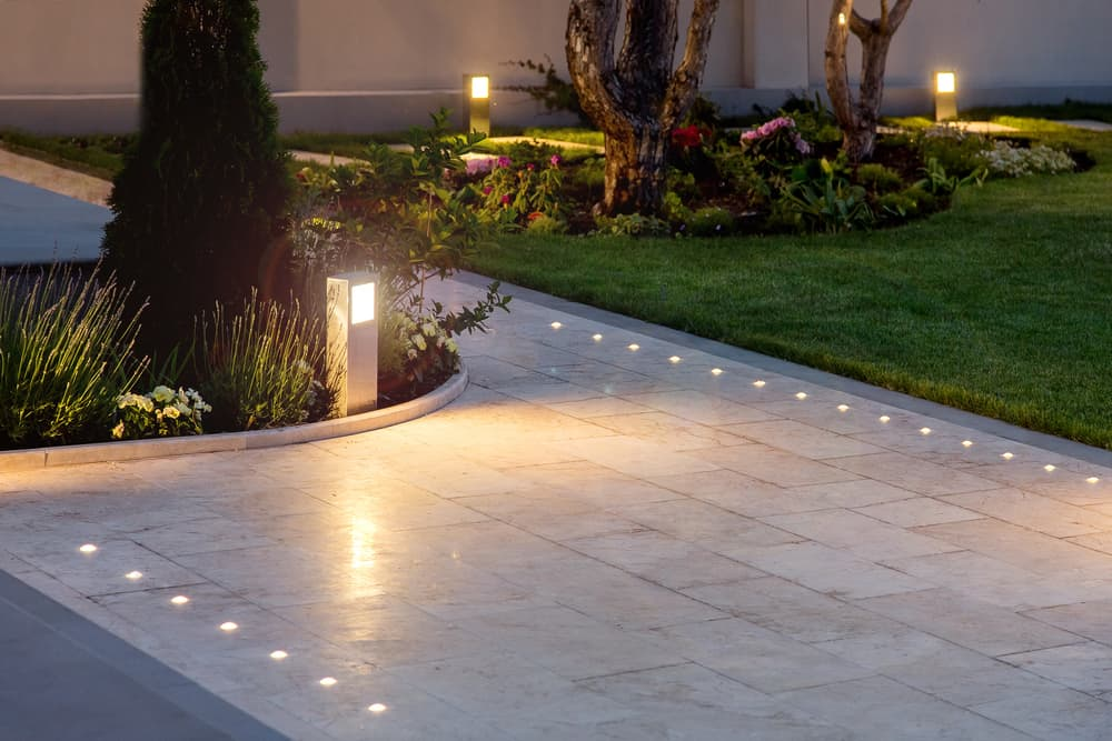 a marble walkway with built in lights
