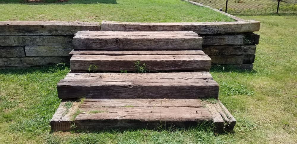stairs made from reclaimed railway sleepers