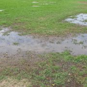 a waterlogged garden lawn