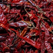 a mass of dried red chilli peppers