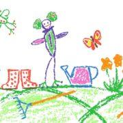 childrens crayon drawing of gardening activities