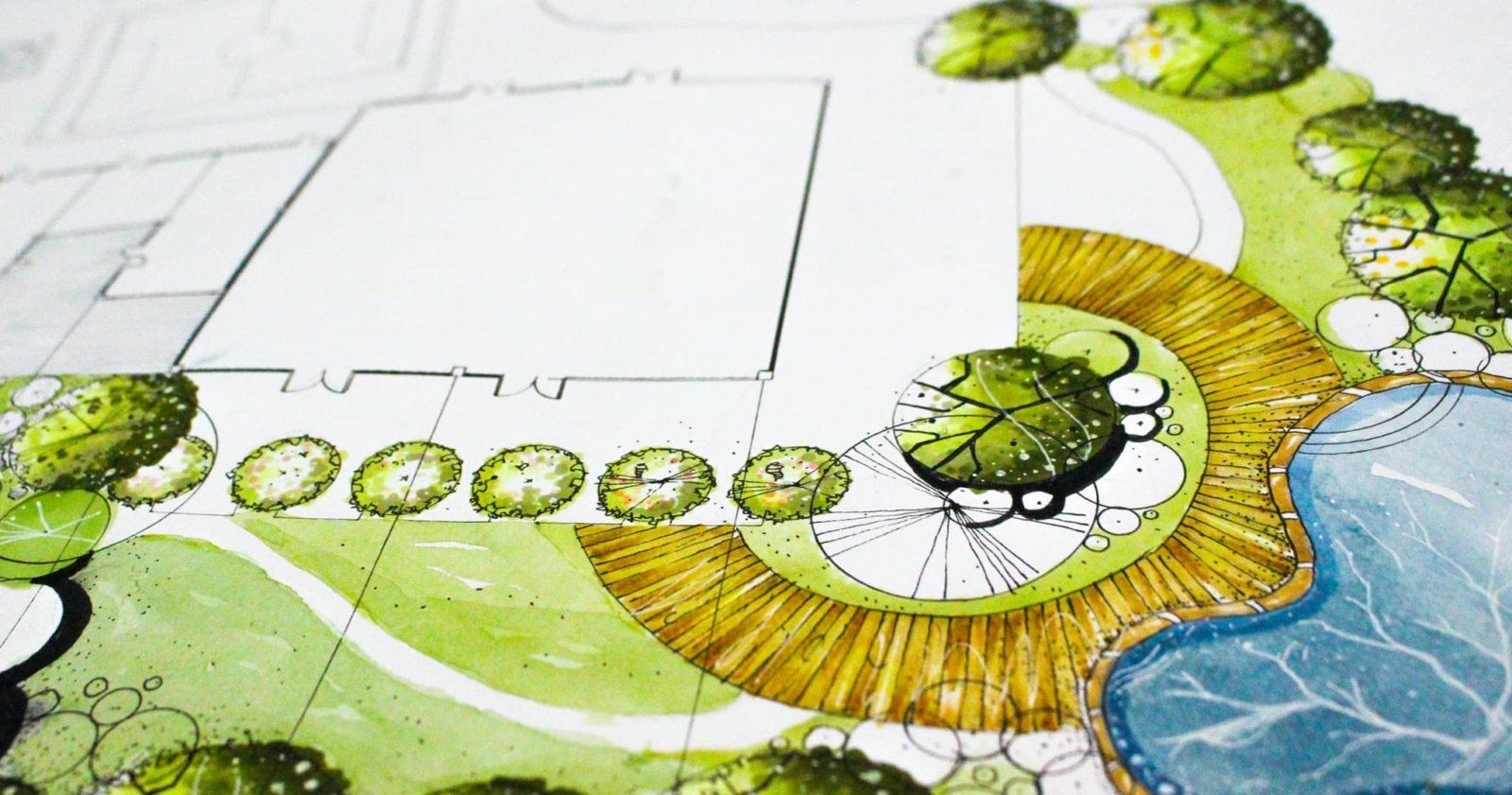 birds eye drawings on paper of a landscaped garden