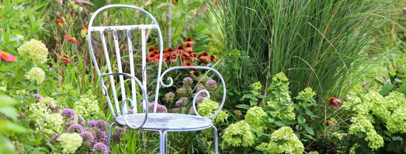 a chair in the corner of a secluded garden